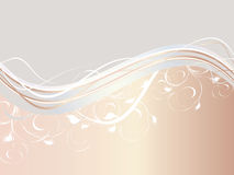 Abstract waves with floral ornament Royalty Free Stock Image