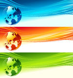 Abstract waves with globe. Vector design eps 10 Royalty Free Stock Image