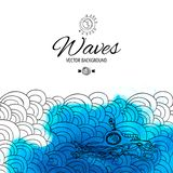 Abstract waves with magic blue watercolor blob backdrop Stock Photography