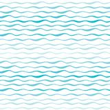 Abstract waves vector seamless pattern. Wavy lines of sea or ocean hand drawn background Stock Photo