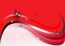 Abstract waves and stars on a red background Royalty Free Stock Image
