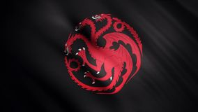 Abstract waving flag with a red three headed dragon on black background, seamless loop. Symbol of Targaryen family, Game royalty free stock photo