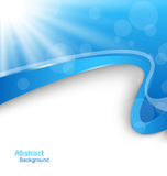 Abstract Wavy Background with Blue Rays Royalty Free Stock Images