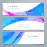 Abstract wavy banners and headers set. Vector Stock Photo