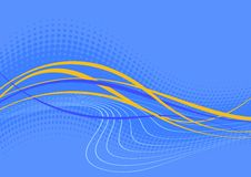 Abstract wavy blue background. An abstract illustration of wavy blue and yellow lines, artistically drawn across a medium blue background. Suitable for a stock illustration