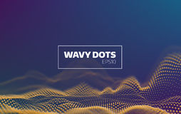 Abstract wavy dots background. Sound noise visualisation. Futuristic infographic for banner. 3d wavy dots background. Sound noise visualisation. Futuristic vector illustration