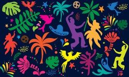 Abstract Pop Art Festival Carnival Samba dancer banner Dancer birds palm tree leaves, flowers tropical Brazil pattern vector. Abstract Dance festival carnival vector illustration