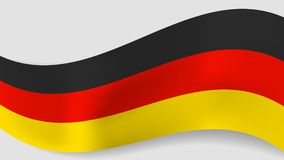 Abstract  wavy German flag background. Ribbon with black, red and yellow Germany flag colors for national holidays and events banners design Royalty Free Stock Photo