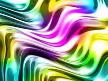 Abstract wavy glossy colorful shiny metallic background. 3d render illustration Stock Photos
