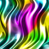 Abstract wavy glossy colorful shiny metallic background. 3d render illustration Royalty Free Stock Photography