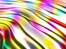 Abstract wavy glossy colorful shiny metallic background. 3d render illustration Royalty Free Stock Image