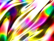 Abstract wavy glossy colorful shiny metallic background. 3d render illustration Royalty Free Stock Images