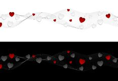 Abstract wavy headers with hearts Royalty Free Stock Photo