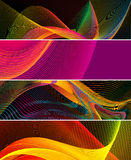 Abstract wavy lines background illustration. High quality horizontal web banner illustrations Stock Illustration