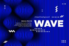 Abstract Wavy Lines with 3d Effect. stock illustration