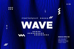 Abstract Wavy Lines with 3d Effect. Blue Abstract Poster with Distorted Lines. Striped Background with Movement. 3d Linear Banner with Ripple Effect. Vector royalty free illustration