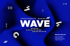 Abstract Wavy Lines with 3d Effect. Blue Abstract Poster with Distorted Lines. Striped Background with Movement. 3d Linear Banner with Ripple Effect. Vector stock illustration