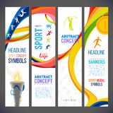 Abstract wavy lines in different colors for a series of sports-related banners. Sports symbols victory torch. Torch fire, gold medals, sports award.sporting Royalty Free Stock Photo