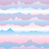 Abstract wavy mountain skyline background. Nature landscape sunr Stock Photos