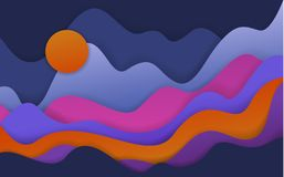 Abstract wavy paper cut style shapes, fantasy landscape. Scenery background vector illustration
