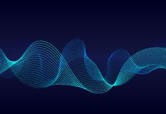 Abstract  wavy particles surface on dark blue background. Soundwave of gradient lines. Modern digital frequency  equalizer on abst royalty free illustration