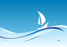 Abstract wavy  with sailboat's silhouette Royalty Free Stock Photo