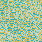 Abstract wavy seamless pattern. Vector endless background. Three colors Royalty Free Stock Photos