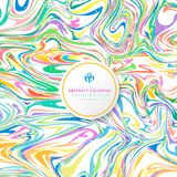 Abstract wavy striped colorful bright ink painted background. Marble texture. Vector illustration Stock Photography
