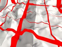 Abstract - wavy surface with red lines 3d. Abstract wavy gray white surface with longitudinal and transverse red lines, bulges and depressions, relief vector illustration