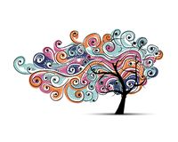 Abstract wavy tree for your design stock illustration