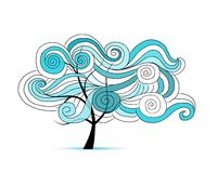 Abstract wavy tree for your design Royalty Free Stock Image