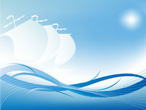 Abstract wavy vector with three yacht's silhouette Royalty Free Stock Photos