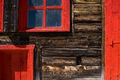 Abstract Weathered Red Windows and Door stock images