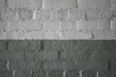 Abstract weathered texture stained old stucco light gray and aged paint white brick wall background in rural room, grungy rusty bl royalty free stock image
