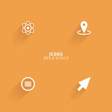 Abstract web icons. On an orange background Stock Photos