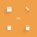 Abstract web icons. On an orange background Royalty Free Stock Image