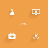 Abstract web icons. On an orange background Stock Image