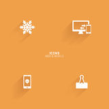 Abstract web icons. On an orange background Stock Photo