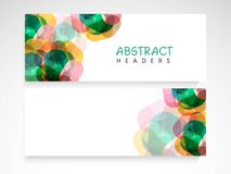 Abstract website header or banner set. Website header or banner set with colorful abstract design and blank space for your text Stock Photo