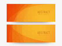 Abstract website header or banner set. Glossy creative Abstract website header or banner set in orange color Stock Photo