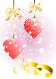 Abstract wedding background with rings and hearts Royalty Free Stock Images
