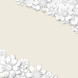Abstract wedding background with white 3d flowers Royalty Free Stock Images