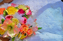 Abstract of a wedding bouquet and dress details Royalty Free Stock Image