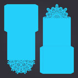 Abstract wedding cutout invitation template. Suitable for lasercutting. Lace folds. Stock Photos
