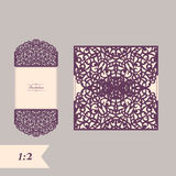 Abstract wedding cutout invitation template. Suitable for lasercutting. Lazercut vector wedding invitation template Royalty Free Stock Image
