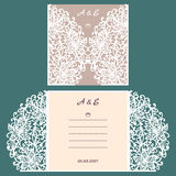 Abstract wedding cutout invitation template. Suitable for lasercutting. Lazercut vector wedding invitation template Stock Photos