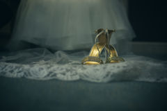 Abstract wedding dress and shoes Stock Photography