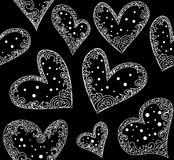Abstract wedding vector seamless pattern with figured hearts Stock Image