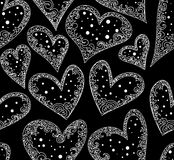 Abstract wedding vector seamless pattern with figured hearts. Endless festive texture. You can use any color of background Stock Photography