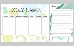 Abstract weekly planner. Hand drawing vector weekly planner. Abstract painting templates Stock Image